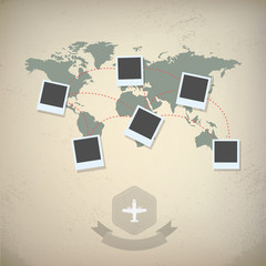 World map with blank photo frames. Traveling concept design