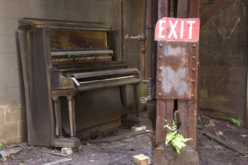 Player piano and exit sign