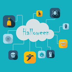 Flat concept, set modern design with shadow halloween