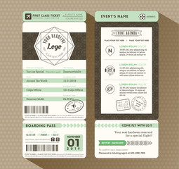 Hipster design Boarding Pass Ticket Event Invitation card Templa