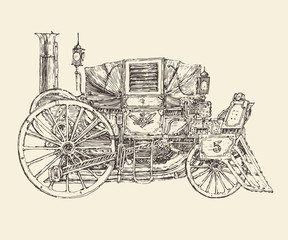 Steam punk carriage, engraved style, vector illustration