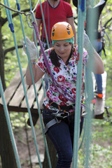 Woman with climber equipment