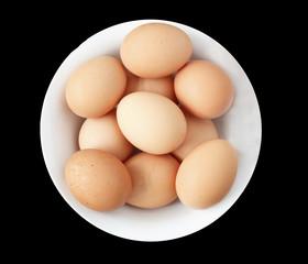 en eggs in a white bowl