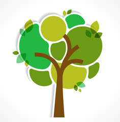 Green tree - background and infographics
