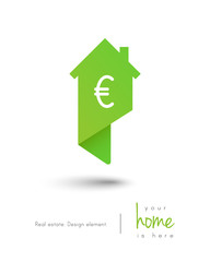 Real estate house logo as map pin concept with euro symbol