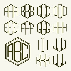 Set 1 template letters to create a monogram of three letters