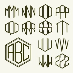 Set 2 template letters to create a monogram of three letters