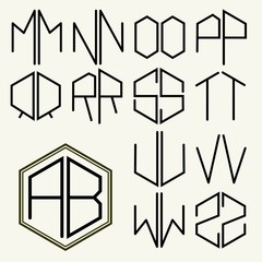 Set 2 template letters to create monograms of two letters