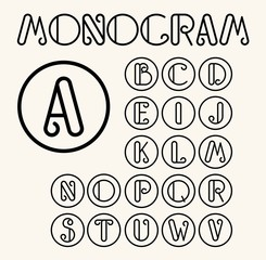 Vintage Art Nouveau font for your monogram and logo. Lineart.