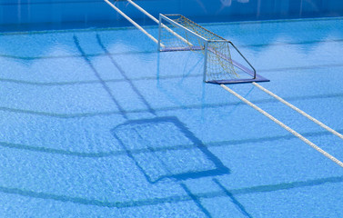 Water polo goal at the outdoor swimming pool
