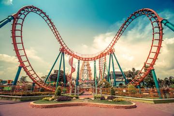 Wall Murals Amusement Park HDR photo of a Roller Coaster