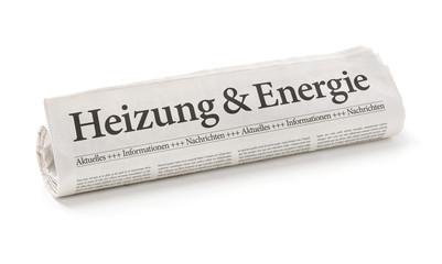 Zeitungsrolle mit der Überschrift Heizung und Energie
