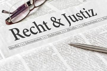 Zeitung mit der Überschrift Recht und Justiz