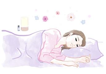 アロマの香りで眠る女性