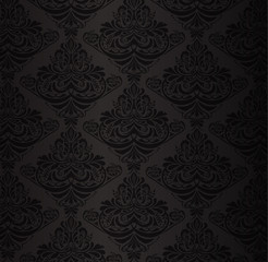 Black damask pattern with vintage floral ornament