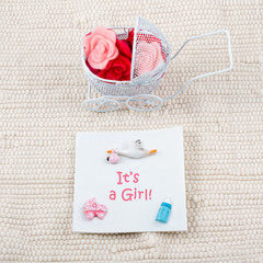 Baby card - Its a girl theme. Pram full of flowers on white