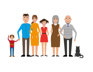La pose en embrasure Chambre d enfant Family portrait with mother, dad, grandma, grandpa, boy, girl