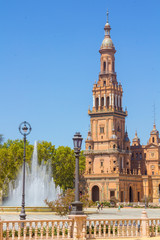 Bell Tower in the famous Plaza of Spain in Seville, Spain