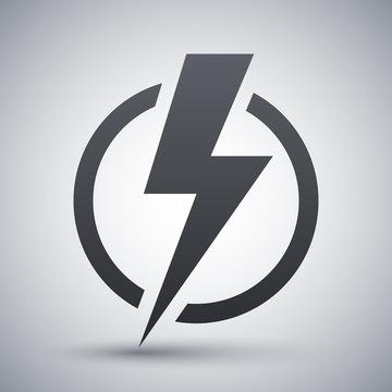 Lightning bolt icon, vector