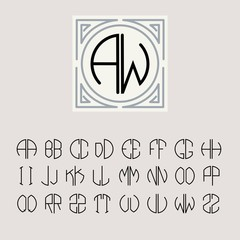 Monogram Art Nouveau and a set of templates of letters
