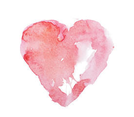 Watercolor aquarelle hand drawn colorful red heart art color