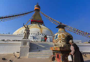 Boudhanath Stupa UNESCO World Heritage Site in Kathmandu, Nepal