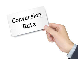 conversion rate card in hand