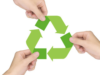 recycle concept: hands holding recycle icon