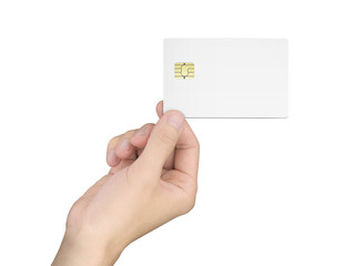 man's hand holding a blank chip card
