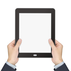 business concept: man's hands holding a tablet