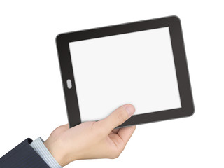 business concept: man's hand holding a tablet