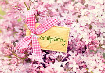 bautiful blossom flower greeting card background - barbecue