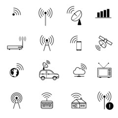 antenna and remote wireless communication vector icon
