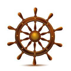 Wooden ship wheel.