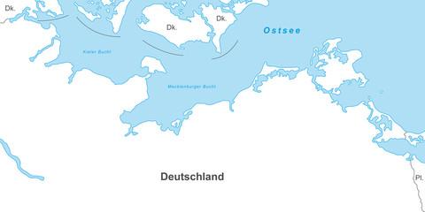 Ostseeküste - Karte in Weiß (mit Beschriftung)