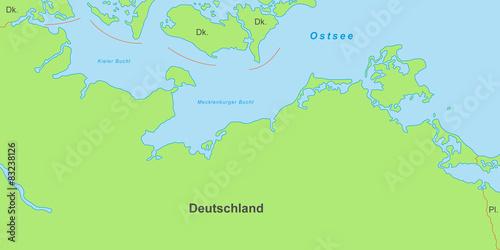 Karte Norddeutschland Ostseekuste.Ostseekuste Karte In Grun Mit Beschriftung Stockfotos