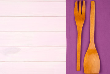 Kitchenware on purple towel