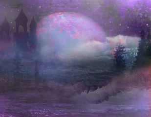 Printed kitchen splashbacks Eggplant abstract landscape with old castle and moon