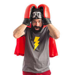 frustrated superhero over white background