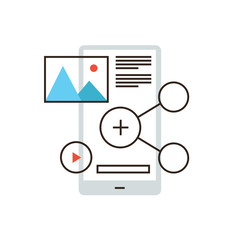 Mobile content flat line icon concept