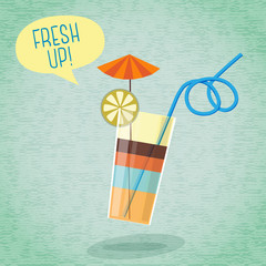 Cute summer poster - cocktail with umbrella, lemon and tube