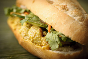 Banh mi Tofu Curry.gebratener Tofu in Currysoße.