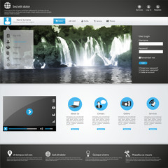 Business Website template with Waterfall Illustraion