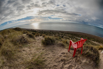 Foto auf AluDibond Drachen Chair outside patagonia lighthouse in valdes peninsula