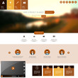 Flat Website Template with Blurred Autumn Background