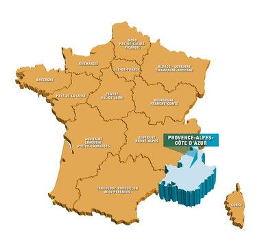 Carte régions de France 3D PACA 2