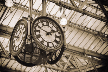 iconic old clock Waterloo Station, London