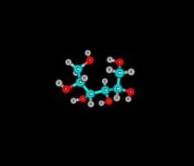 Sorbitol molecule isolated on black