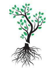 Black vector tree with roots and green leafs.