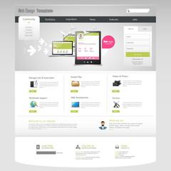 Corporate Website Template - eps10 Vector Design